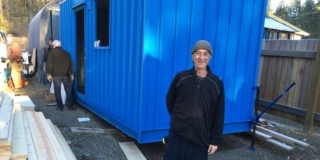 Martin Cook and his tiny home