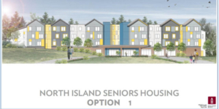 An architect's drawing of a potential old folks home in Port Hardy. Grey, yellow, and blue townhouses line a street with benches and small trees.