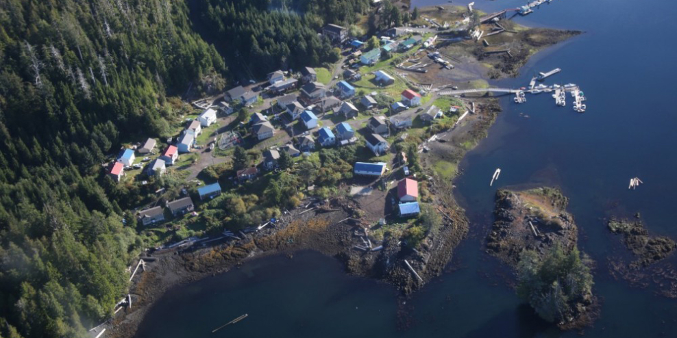 An aerial photograph of Kyuquot on a sunny day.