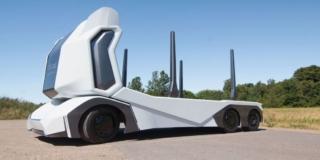 Side view of prototype T-Log electric autonomous logging truck