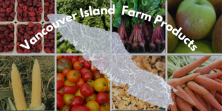 A grid of 8 pictures of fresh vegetables with an outline of Vancouver Island over top.