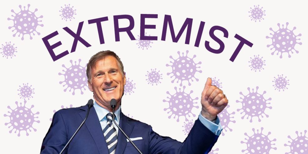 A picture of Maxime Bernier smiling with a thumbs up. He has the word Scumbag written above his head and there are little purple COVIDs in the background.